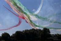 italian frecce tricolori after a split with red whita and green smoke at Royal International Air Tattoo 2018