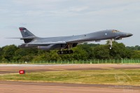 grey coloured b-1 bomber of united states air force right before touch down at Royal International Air Tattoo 2018