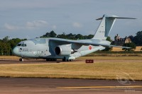 greay coloured C-2 transport aircraft taxiing at Royal International Air Tattoo 2018