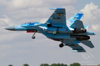 blue ukrainian air force su 27 right after take of at Royal International Air Tattoo 2018