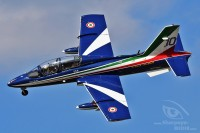 blue MB-339 of Frecce Tricolori with italian flag at Royal International Air Tattoo 2018